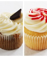 Chocolate & Banana and Lemon & Raspberry cupcake from our variety box