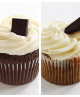 Chocolate and Chocolate & Banana cupcake from our variety box